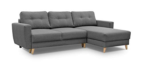 Gama Mobler Corner Sofa Bed Retro with Storage & Sprung Seat, Quality Sawana Fabric, Modular, 3 Seater, L-shape, Universal, Reversible, Pull Out, Wooden Frame in Dark Grey