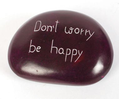 Mystery Mountain Don't Worry Be Happy Message sur Ovale Pierre Palewa Pebble