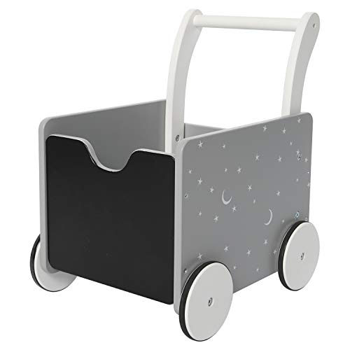 Grey Star-2-in-1 Baby Learning Walker Wooden Strollers with Blocks - Toddler Baby Push Walker Toys with Wheels for Girls Boys 1-3 Years Old, Wagon Toy Walkers Sturdy Construction(Square)