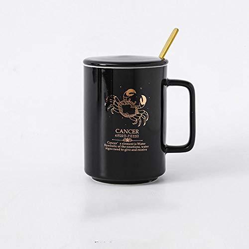 MIC-moonjack ZwöLf Sternbilder Becher Keramik Kaffeetasse Mit Deckel LöFfel 500 Ml Hochwertige Handgemachte Geschenke-Schwarz_Krebs