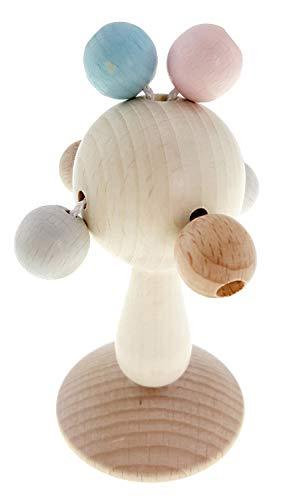 Hess Holzspielzeug 10128443 Rassel Klapperbäumchen aus Holz, nature grau, ab 3 Monaten, ca. 6 x 6 x 12 cm, Geschenk zur Geburt oder Taufe, mehrfarbig, 60 g
