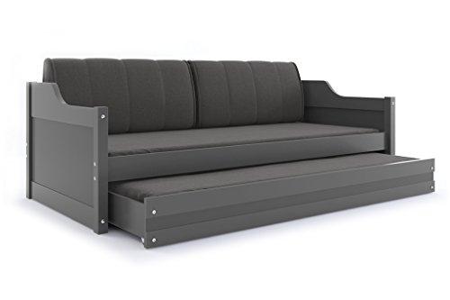 Interbeds Funktionsbett David für Zwei Kinder 190x80cm, Farbe: grau +2. Farbe zur Wahl; mit Lattenroste, Matratzen und Kissen (grau)