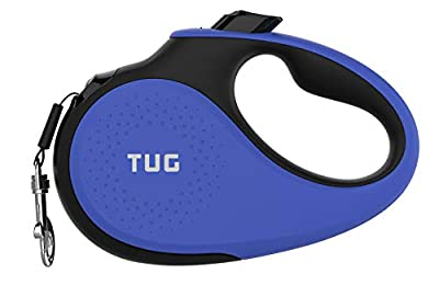 TUG Patented 360° Tangle-Free, Heavy Duty Retractable Dog Leash with Anti-Slip Handle; 16 ft Strong Nylon Tape/Ribbon; One-Handed Brake, Pause, Lock (Small, Blue)