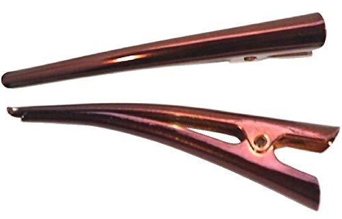 7�p メタル コンコルド クリップ ワニクリップ くちばし ミニサイズ まとめ髪 ヘアアクセサリー ポイント消化 ユニセックス ハンドメイド NO.00286 (ブラウン 2本セット)