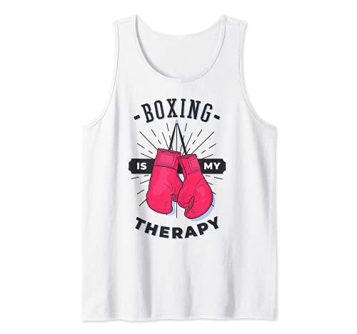Boxeo Es Mi Terapia Amante Deportivo Entrenador Divertido Boxer Chica Camiseta sin Mangas