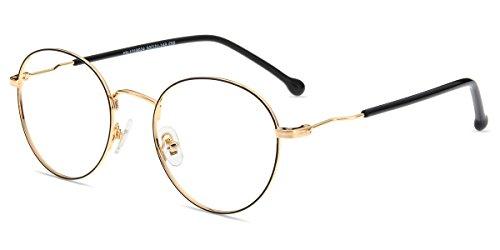 Firmoo Blaulichtfilter Brille Herren Damen Entspiegelte Brille ohne Sehstärke, Anti Blaulicht Computer Brille für Bildschirme, Anti UV Augenschutzbrille, Runde Metallbrille 13cm