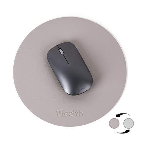 Weelth Mauspad Runde Office, Mousepad 220mm doppelte Farbefür alle Maustypen, Wasserdicht PU Leder Matte für PC, Computer und Laptop