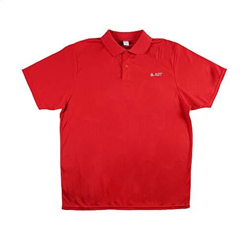 Astrolabio, Polo da Uomo AST, Maglietta da Tennis, Rosso, Traspirante, Regular Fit - Logo sul Petto - H17C (XL)