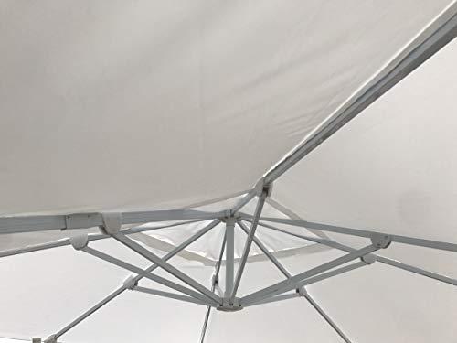MICHELE SOGARI Ombrellone da Giardino 3X4 Bianco Base Decentrata Alluminio 3 X 4 Telo Poliestere e Rotazione 360 gr - Total White (ombrellone)