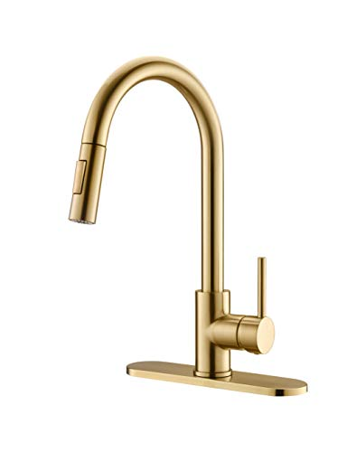 Havin HV601 Brass Material,Kitchen Sink Faucet with Pull Down Sprayer, Brushed Gold Color,Kitchen Faucet with Pull Out Sprayer, Fit for 1 Hole and 3 Holes Deck Mount, Single Handle
