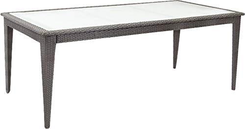 AubryGaspard Table de Jardin en résine tressée Noir
