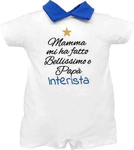 Pelele para bebé inter, Milan y Juventino, media manga, pelele de verano con bordado «Mamma mi ha hecho bello y papá aficionados» de puro algodón Pelele de algodón Interista 3-6 meses