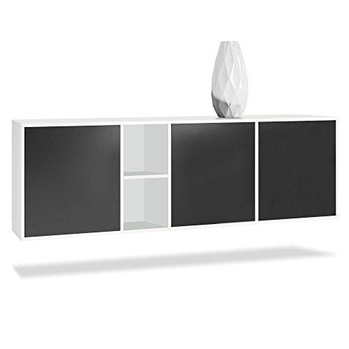 Vladon Sideboard Kommode Cuba, Korpus in Weiß matt/Fronten in Schwarz matt