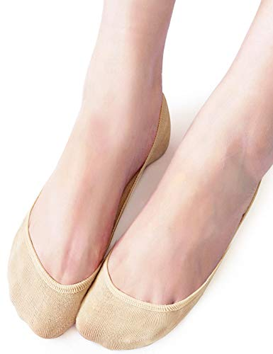 VERO MONTE 4 Pairs Women No Show Socks (Grey + Nude  7-8.5) - Cotton Boat Socks