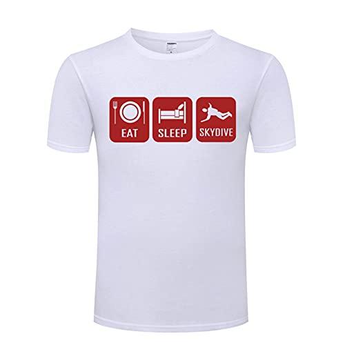 HUAN Comer Sleep Skydive Skydiving Parachute SS Camiseta Transpirable con Mangas Cortas Style 3-XL