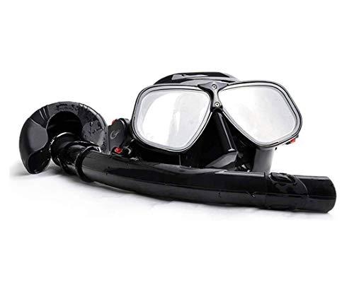 ZOUSHUAIDEDIAN Conjunto de máscara de snorkel, conjunto de snorkel, engranaje de snorkel anti fugas para mujeres y hombres, anti-niebla resistente al impacto de cristal templado de cristal de vidrio (