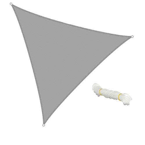 ECD Germany Voile d'ombrage - Triangulaire 5x5x5m - Gris - HDPE - avec protection UV - Câble de tension compris - Auvent de protection pour balcon et terrasse de jardin