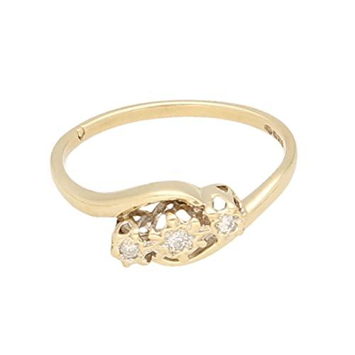 Anillo de oro amarillo de 9 quilates para mujer con diamantes de 0,10 quilates, anillo de tres piedras (tamaño P) 11 x 4 mm | Anillo de lujo para mujer