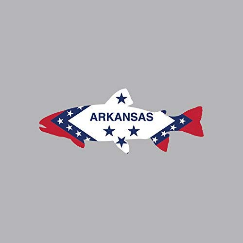 Arkansas State Shaped Trout Sticker Vinyl Decal Sticker AR Fly Fishing Fish Made in USA