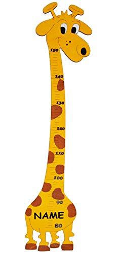 alles-meine.de GmbH Meßlatte - aus Holz -  lustige Giraffe  - Messlatte incl. Name - Kinderzimmer - Holzmeßlatte für Kinder Holzmeßlatte / Kind Tier Tiere - Giraffen für Mädche..