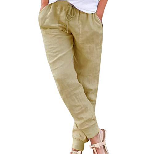 Shinehua dames linnen broek 7/8 lengte lichte zomerbroek strandbroek zacht comfortabel, los eenkleurig vrijetijdsbroek joggingbroek harembroek met trekkoord