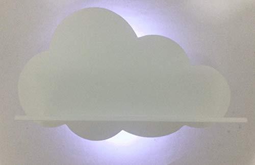 Prateleira Nuvem com luz de led sem fio para quarto de bebê