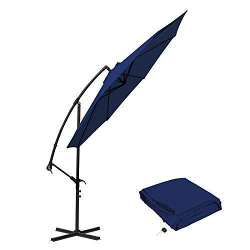 Masvis 10 ft Offset Cantilever Patio Umbrella Outdoor Market Hanging Umbrellas & Crank with Cross Base, 8 Ribs (10 Ft, Blue)