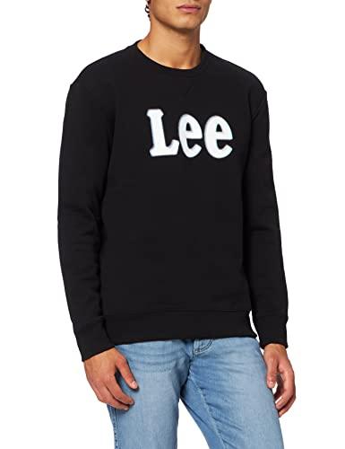 Lee Logo Crew SWS Sudadera, Negro (Black), L para Hombre