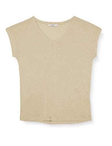 ONLY Damen T-Shirt onlSILVERY S/S V Neck Lurex TOP JRS NOOS, Gold (Gold Colour), 42 (XL)