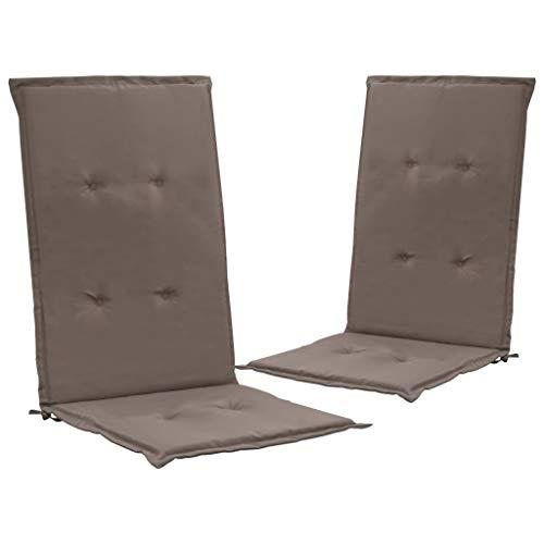 UnfadeMemory Cojínes Exterior para Sillas de Jardín Impermeable,Cojines con Respaldo para Sillas (Gris Taupe, 120x50x3cm,2uds)