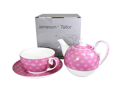 Jameson & Tailor Tea for One 4teiliges Set Kännchen, Tasse, Untertasse Pink/Blümchen Brillant-Porzellan