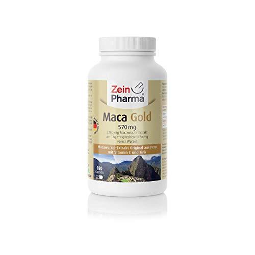 ZeinPharma Maca Gold 570 mg 180 Kapseln (6 Wochen Vorrat) Glutenfrei, vegan, koscher & halal Hergestellt in Deutschland, 126 g