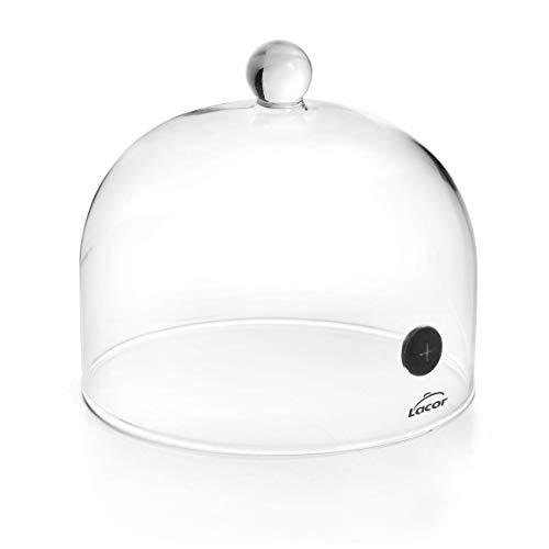 Lacor - Campana para Ahumador de alimentos Magic, con Tapa de Cristal con Válvula, Permite la entrada de humo, vapor y aromas para ahumar y aromatizar alimentos, 16 x 12cm