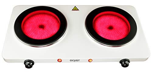Exquisit Glaskeramik-Doppelkochplatte KC 6201 We | Ø 19,2 und 19,2 cm | 2400 Watt | stufenlose Temperaturregelung | Überhitzungsschutz | Weiß
