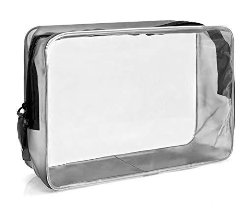 TankerStreet 3 Pack Sac de Maquillage Transparent Sac de Voyage Organisateur Cosm/étique Portable Trousse Toilette Shampooing Imperm/éable PVC Brosses pour Voyager Homme et Femme Affaires Poign/ée Noire