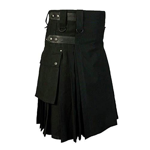 Anpassbare Hosen Herren Vintage Kilt Schottland Gothic Kendo Taschenröcke Schottische Kleidung Faltenrock Hosen XL Bk