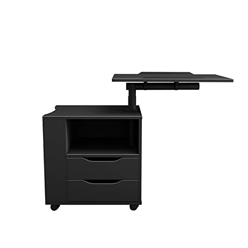 SogesHome Bedside Table with Swivel Shelf Cabinet Bedroom Furniture Nightstand Table Chest Drawer Storage Cabinet, Black, NSDUS-CT1-BK-1