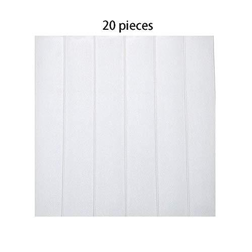 *Win-Y 3D Holz Tapete, DIY Schaum Panel weiche Anti-Kollision Schalldämmung Wasserdichter Leicht zu Reinigen Wandpaneele für Schlafzimmer Wohnzimmer moderne tv schlafzimmer wohnzimmer dekor (20, White)*
