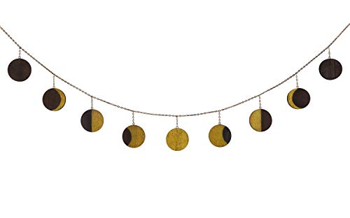 Mkouo Moon Phase Garland with Chains Celestial Wall Phases, Boho Chic Bohemian Wall Decor - Apartment Dorm Office Nursery Living Room Bedroom Decorative Wall Art, Gold