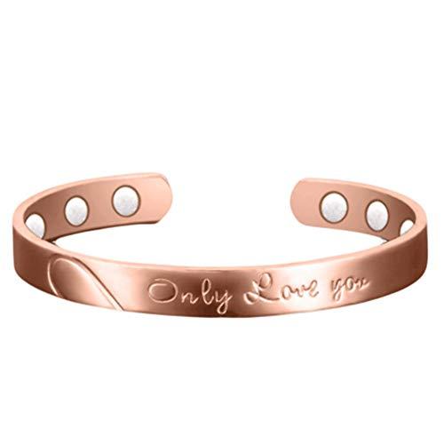 Braccialetti magnetici in rame oro rosa per uomini donne terapia artrite guarigione dolore articolare aiuto bangel 6 potenti magneti da parete e Rame, colore: Oro rosa, cod. B19