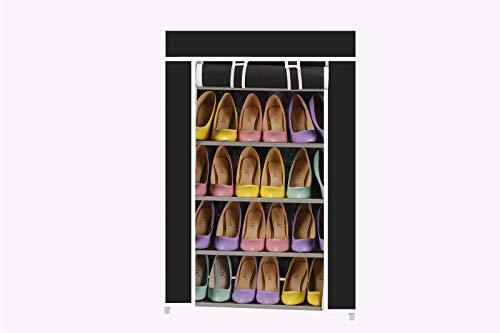 Vinsani - Zapatero de lona con 5 niveles para fiestas, gimnasio, trabajo, zapatos y calzado, color negro