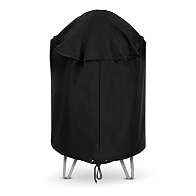 """Arcedo Kettle Grill Cover, Heavy Duty Waterproof Round Charcoal Smoker Cover, Outdoor Vertical Barrel Cooker Smoker Cover, 30"""" Dia Bullet Smoker Cover, Fits Weber,Kamado Joeand More, Black"""
