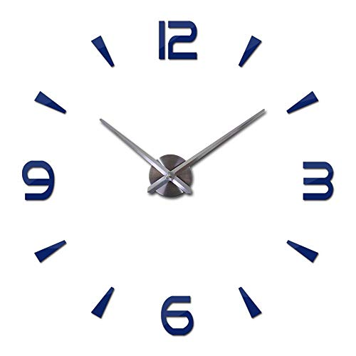 XXYHYQHJD Bricolaje Espejo de acrílico del Reloj de Pared Reloj de Cuarzo Relojes Modern Living Home decoración 3D Pegatinas Reloj de Pared Vintage (Color : Deep Blue, Sheet Size : 27inch)