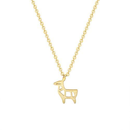Collar FyaWTM, Joyas Colgante Acero Inoxidable Oro Plata Origami Ciervo Amistad Collar Mujeres Lindo Papel Cabra Oveja Colgante Collar Joyería para niños