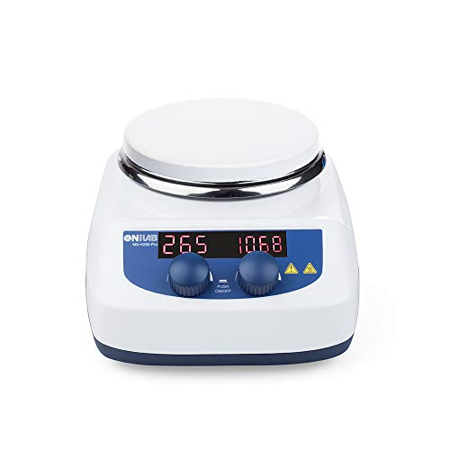 ONiLAB 5 inch LED Digital Hotplate Magnetic Stirrer Hot Plate with Ceramic Coated Hotplate, Stir Plate, Magnetic Mixer 3,000mL Stirring Capacity, 200-1500rpm, Stirring Bar Included, 280℃