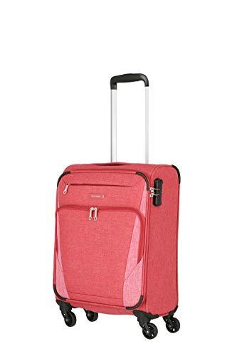 travelite 4-Rad Weichgepäck Koffer Handgepäck mit Zahlenschloss erfüllt IATA Bordgepäck Maß, Gepäck Serie JAKKU: Leichter Trolley im klassischen Design, 092547-10, 54 cm, 33 Liter, rot