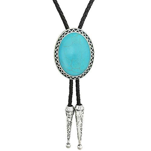 HAISWET Corbata azul turquesa Bolo Tie Western Line ajustable cordón de cuero para hombre