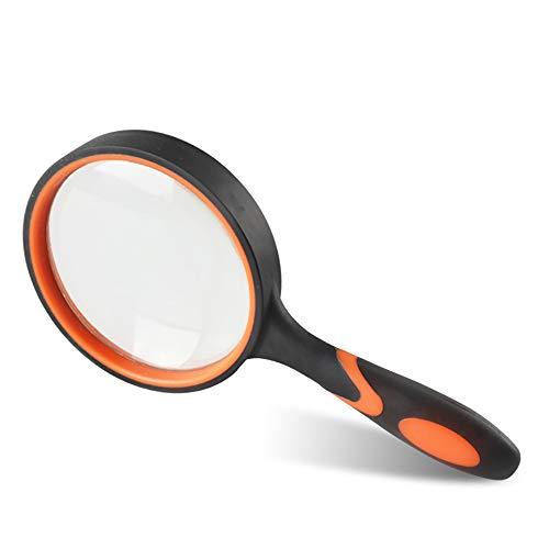 Lupa TFTREE Lupa 10X / 20X Lupa de mano de alta magnificación HD resistente a roturas Ideal para personas mayores y niños Lente de cristal transparente-orange-65MM