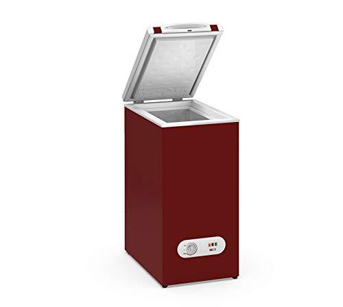 Congelador Horizontal pequeño TENSAI, color Burdeos, 60 litros de capacidad y 38,4 cm de ancho con nueva clasificación energética E