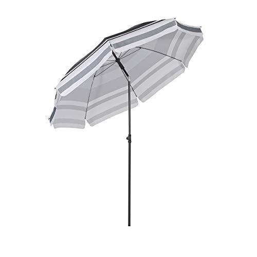 Sekey® Sonnenschirm 200 cm Marktschirm Gartenschirm Terrassenschirm Grau & Weiß Rund Sonnenschutz UV25+